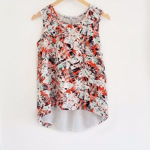 Floral Split Back Sleeveless Summer Tank Top Small